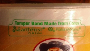 "Quaker Oats carton with ""Earth First"" logo"
